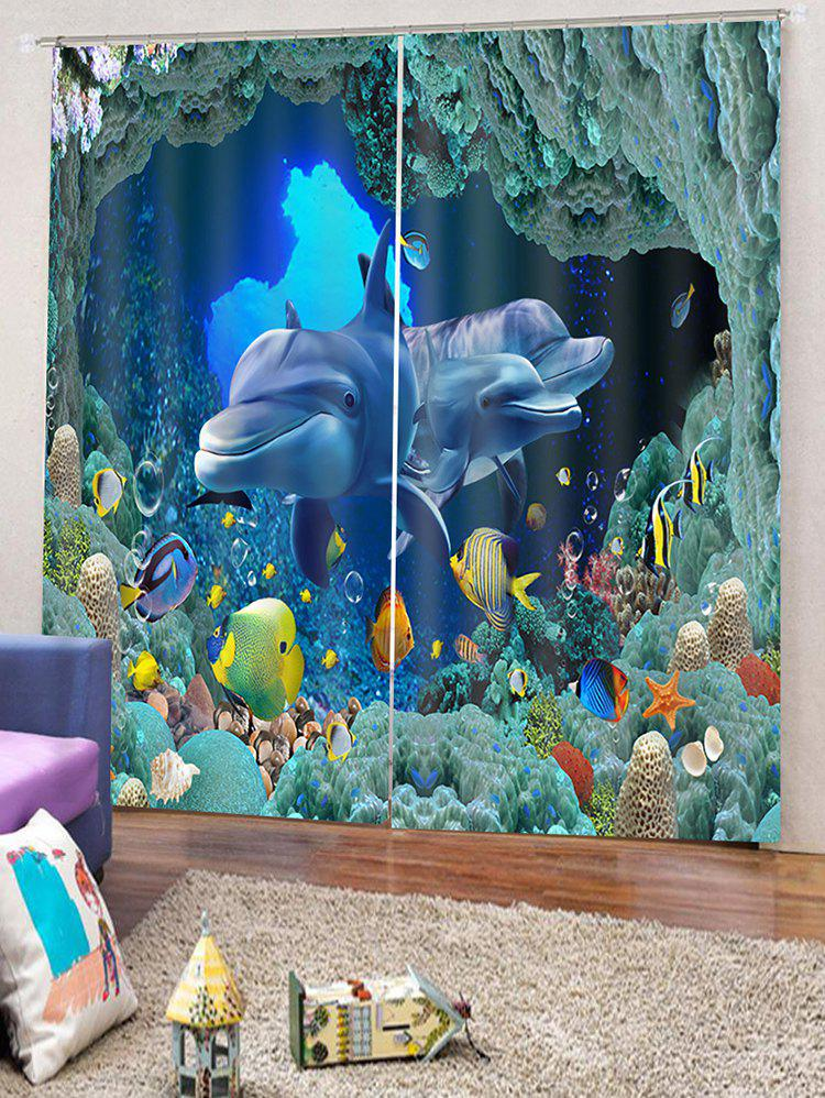Discount 2PCS Seabed Dolphin Pattern Window Curtains