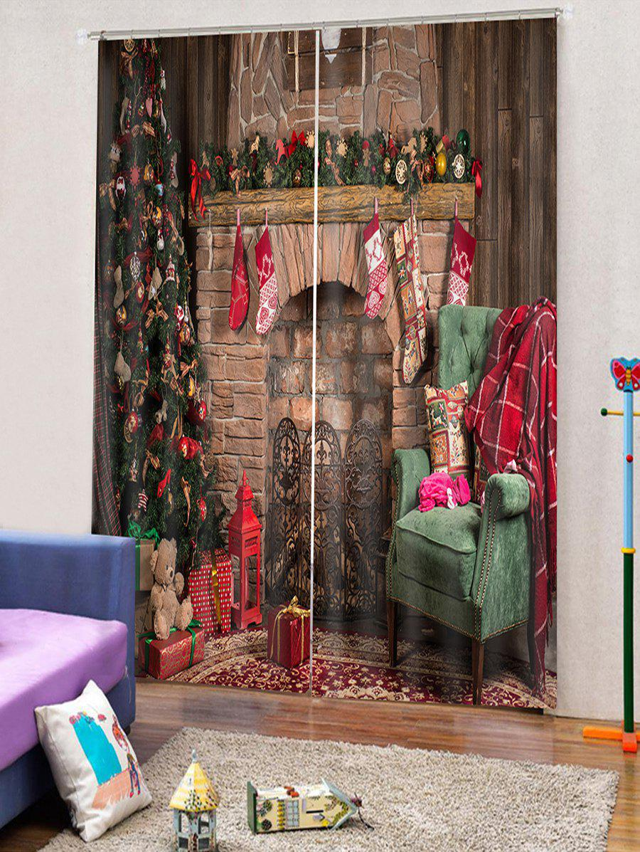 New 2PCS Christmas Tree Gift Stocking Pattern Window Curtains