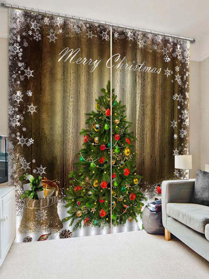 Shops 2PCS Merry Christmas Tree Gift Pattern Window Curtains