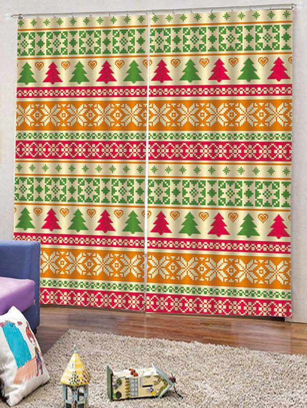 Outfits 2PCS Christmas Tree Geometric Pattern Window Curtains