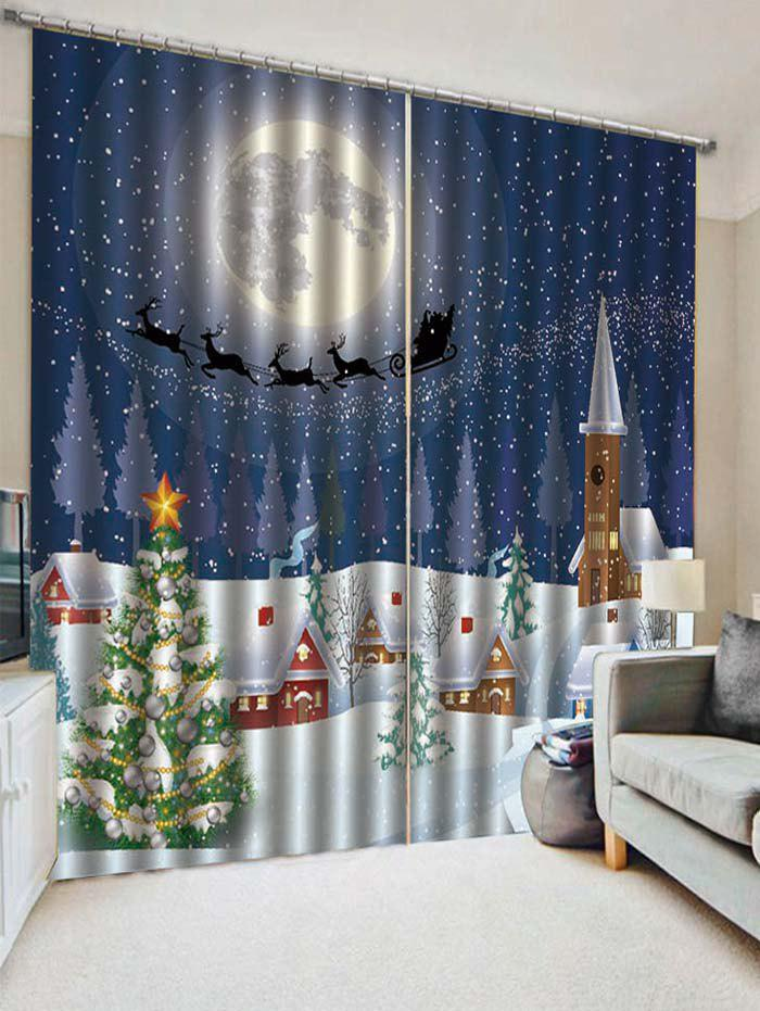 Sale 2PCS Christmas Tree Moon Night Pattern Window Curtains