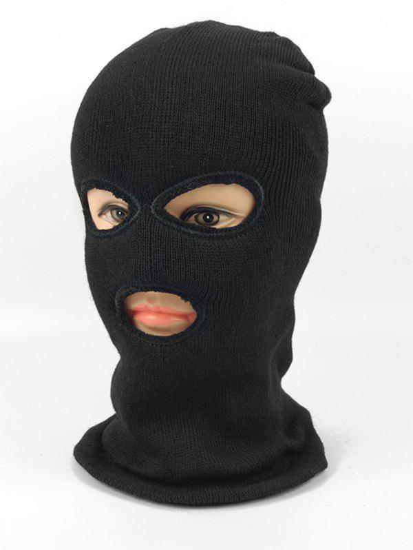 Trendy Solid Color Knitted Face Mask Sport Hat