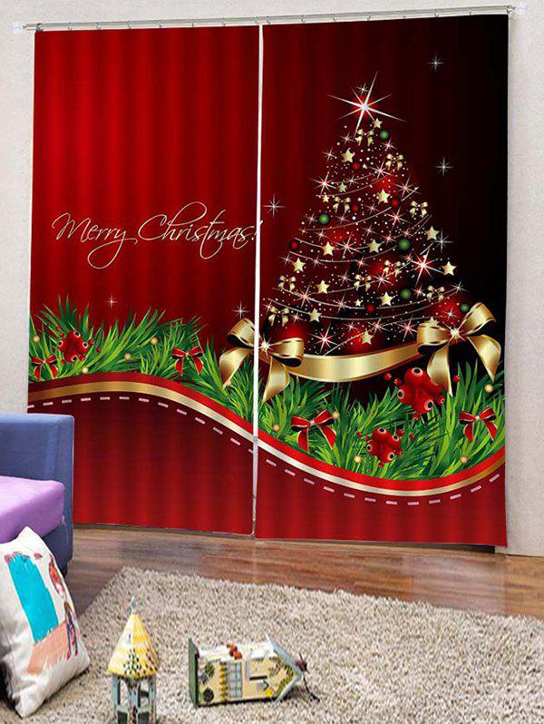 Chic 2PCS Merry Christmas Tree Star Pattern Window Curtains