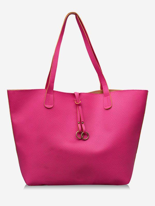 Outfits 2Pcs PU Leather Hoop Decoration Tote Bag