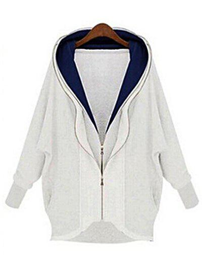 Affordable Plus Size Double Layered Zip Hoodie