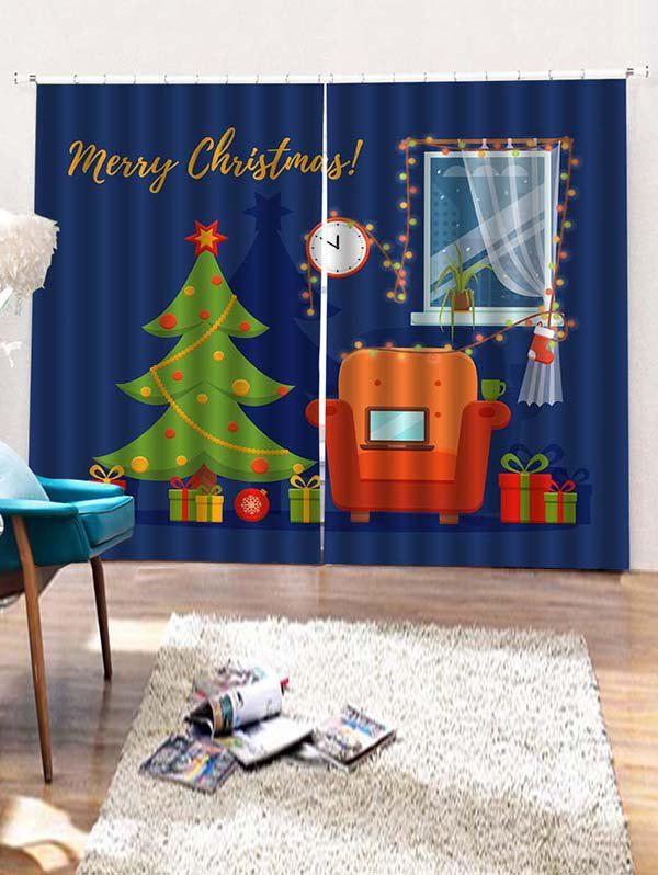 Discount 2PCS Merry Christmas Tree Gift Window Curtains