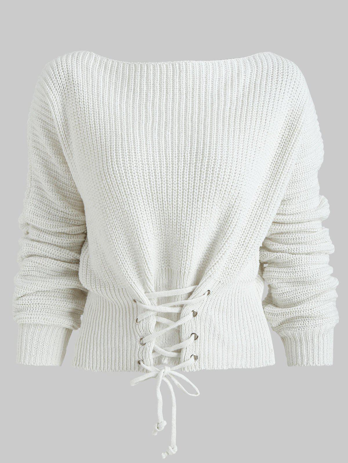 Lace Up Batwing Sleeve Chunky Sweater - One Size 3f0d37ee8