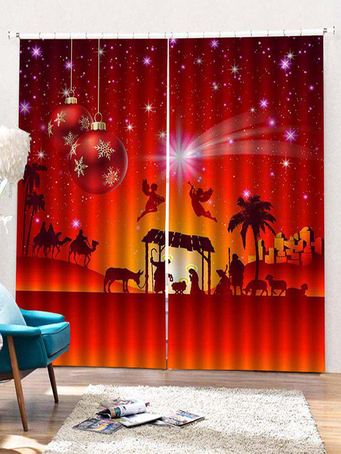 New 2PCS Christmas Snowflake Angel Pattern Window Curtains