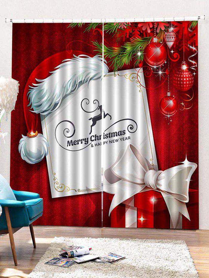 Trendy 2PCS Merry Christmas Hat Gift Pattern Window Curtains