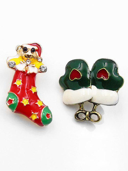 Trendy Christmas Sock Gloves Alloy Brooches