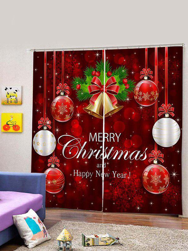 Online 2PCS Merry Christmas Bell Ball Pattern Window Curtains