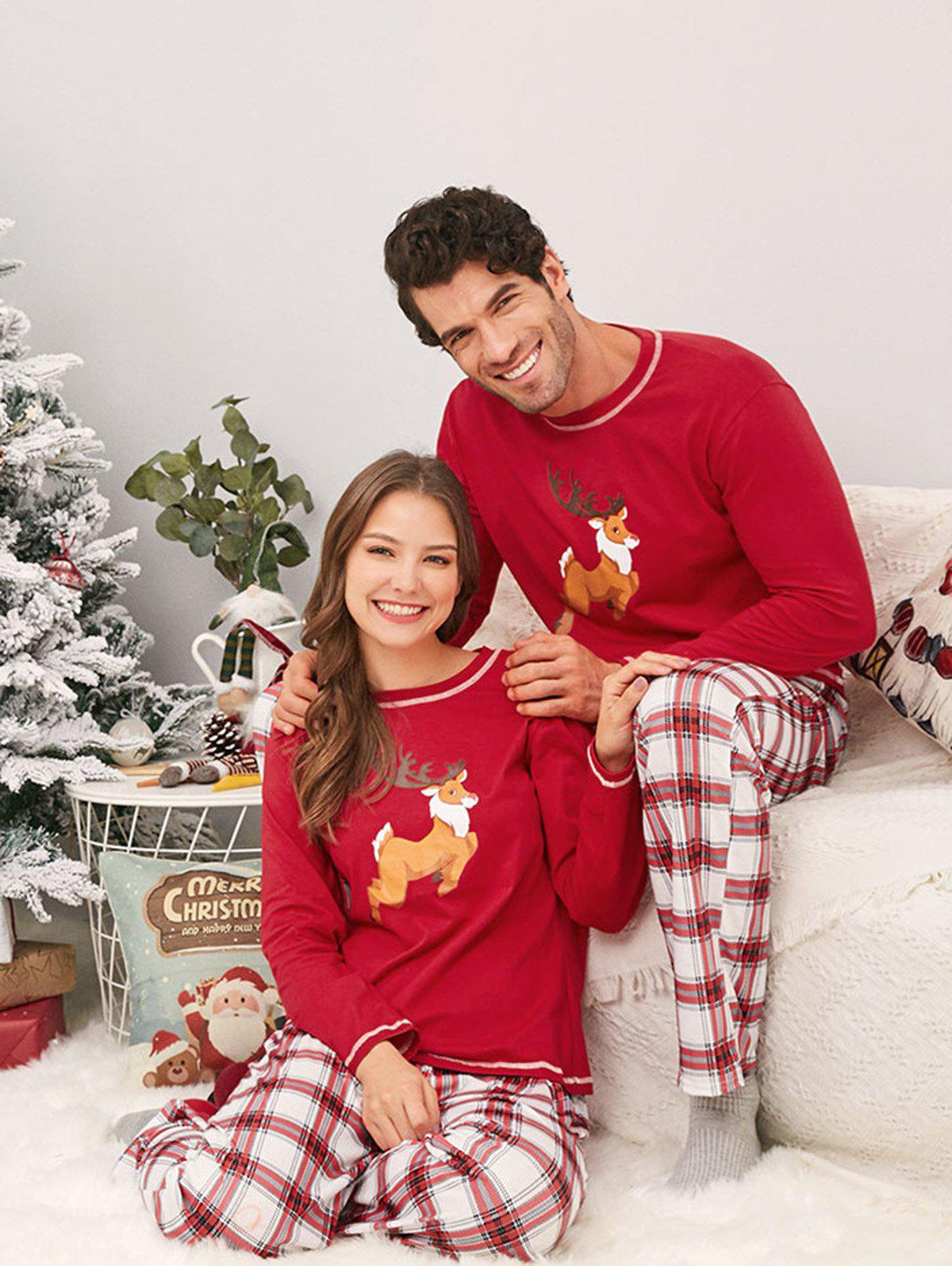 Trendy Elk Print Plaid Family Christmas Pajamas