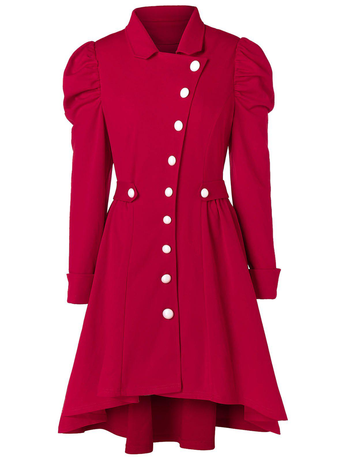 Affordable Plus Size High Low Long Skirted Coat