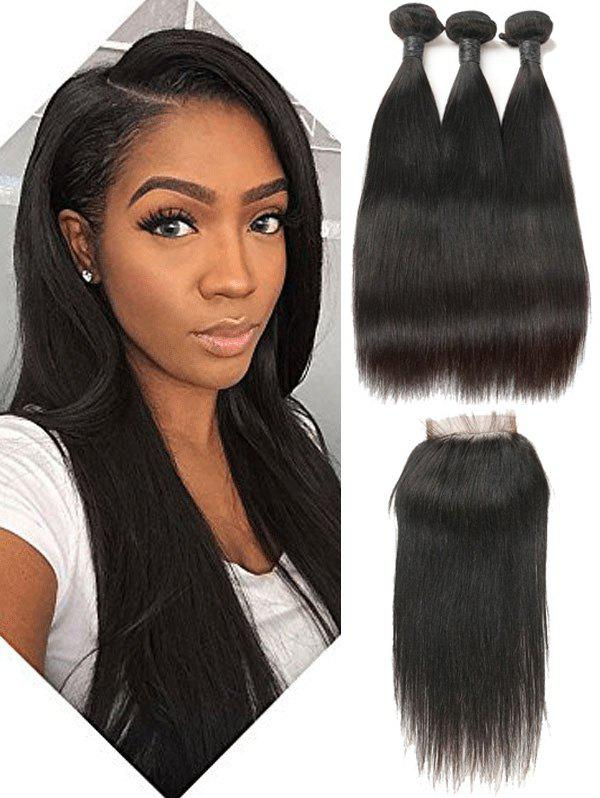 Outfit 3pcs Brazilian Virgin Straight Human Hair Weaves With Closure