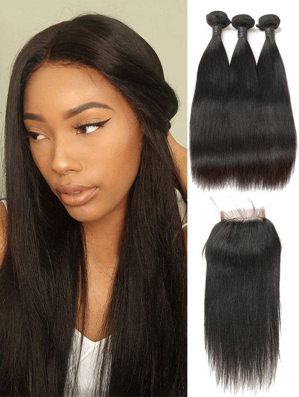 Affordable Malaysian Virgin Straight Human Hair Weaves with Closure