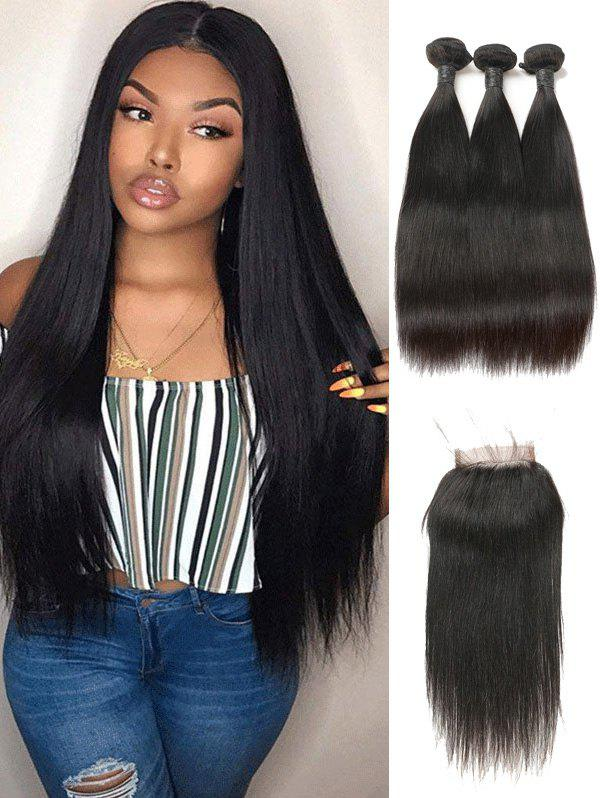 Chic Real Human Hair Straight Indian Virgin Hair Weaves with Closure