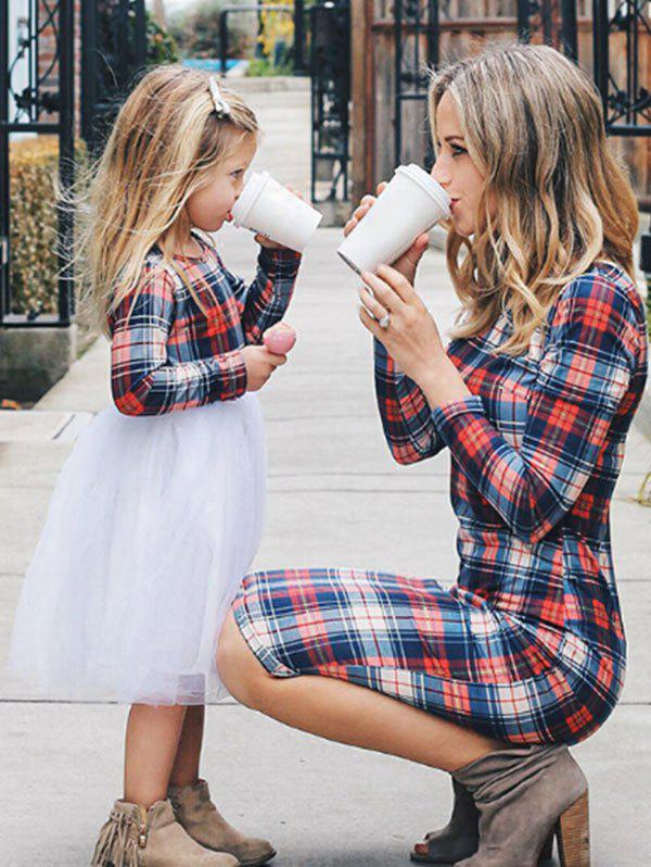 Shops Mother and Daughter Christmas Casual Plaid Dress