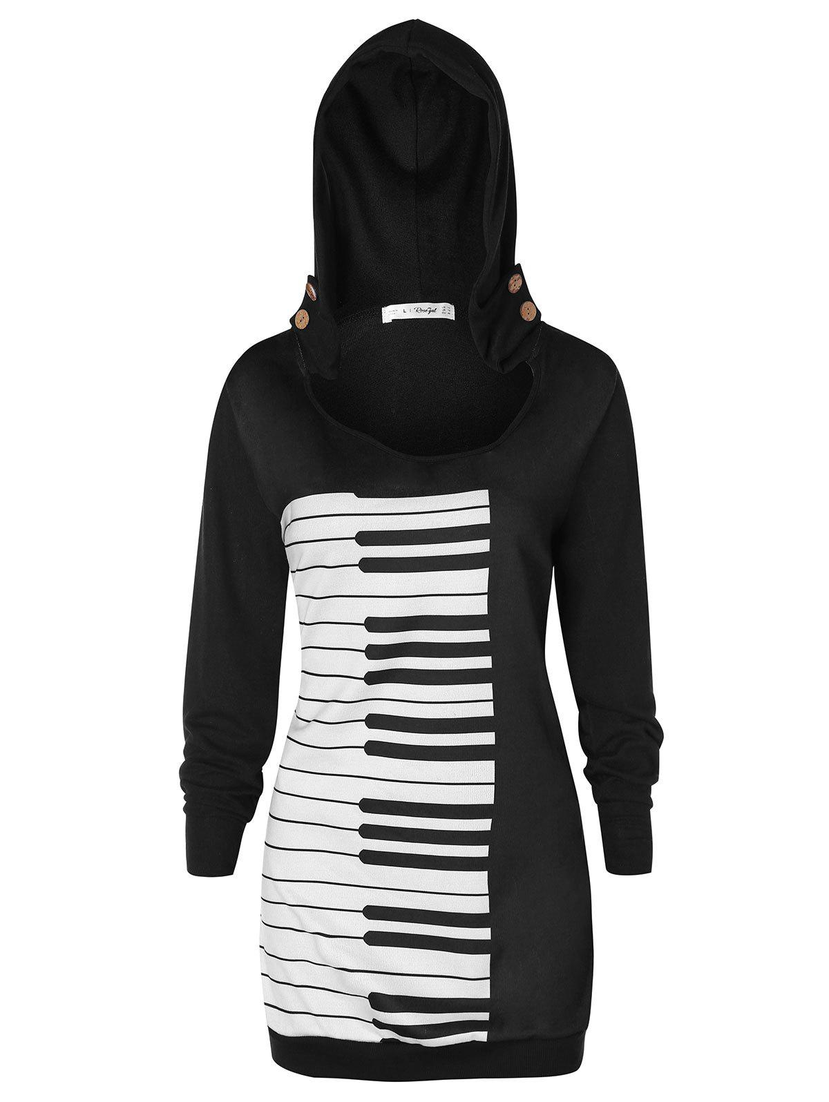 Sale Plus Size Musical Notes Graphic Hoodie