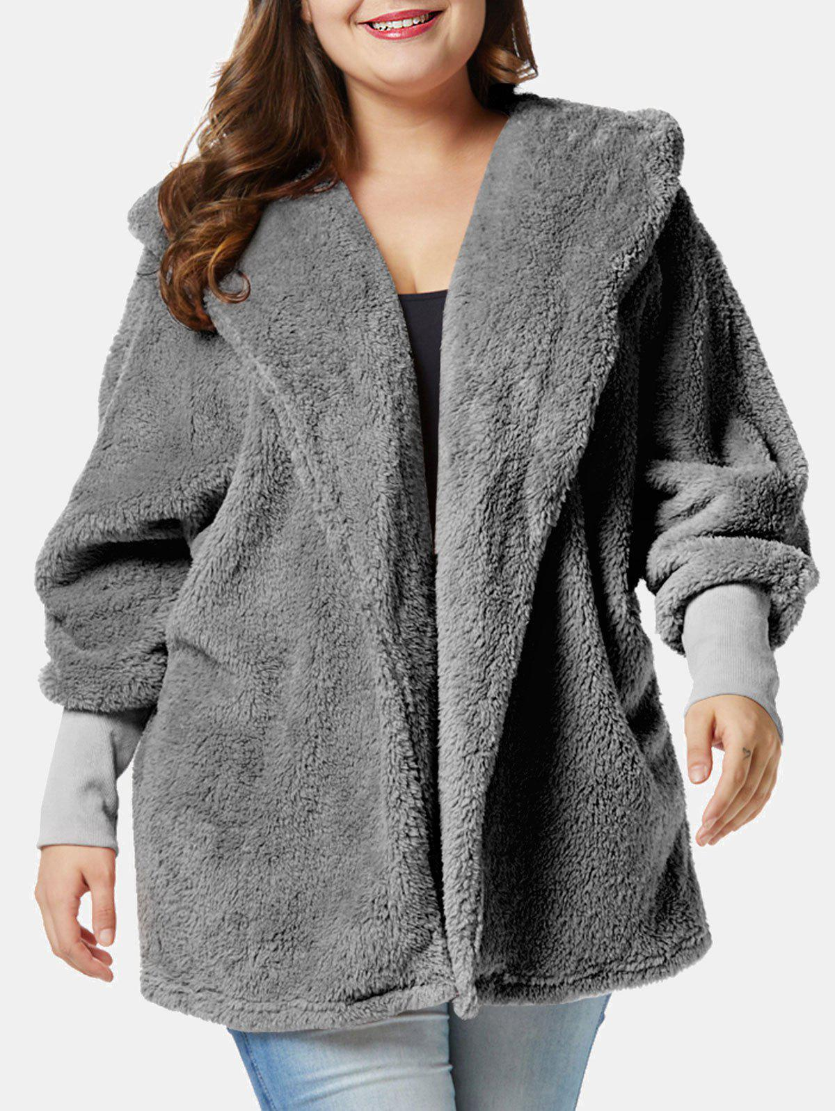 Trendy Plus Size Fluffy Hooded Coat with Open Front