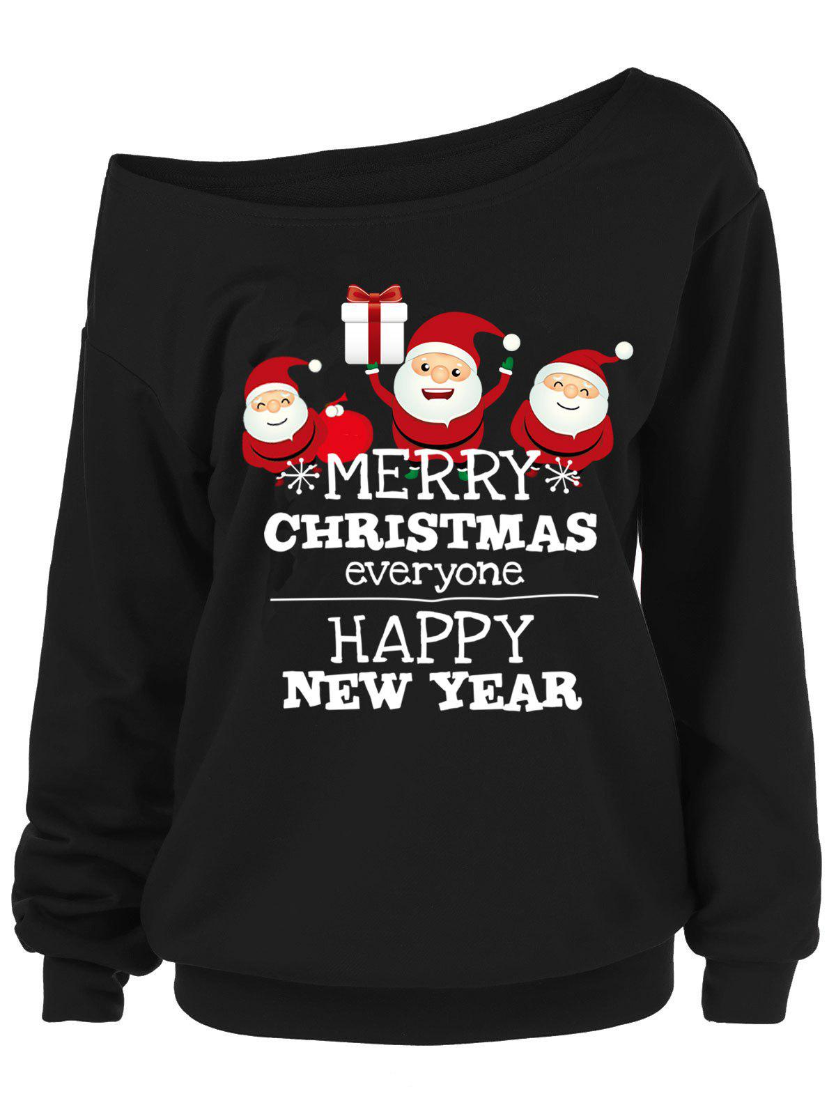 Best Plus Size Santa Claus Letters Skew Neck Sweatshirt