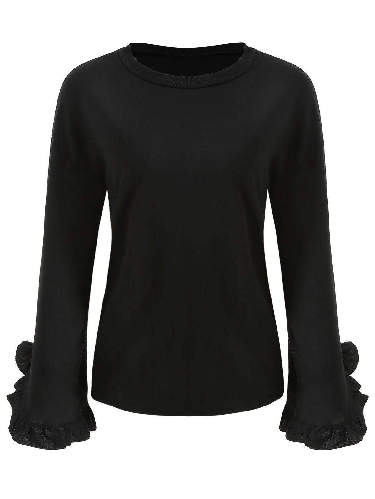 Hot Flare Sleeve Round Neck Top