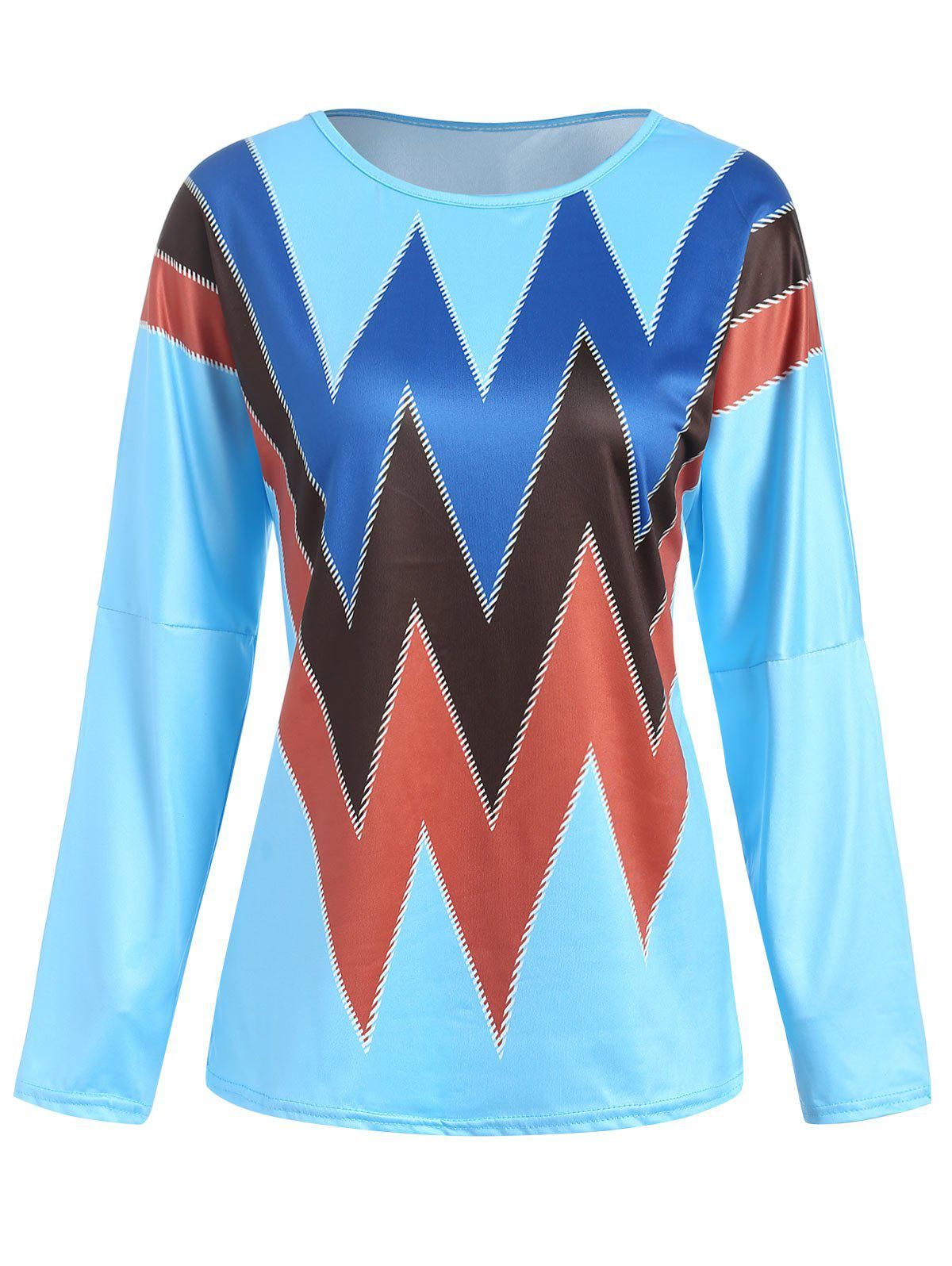 Trendy Zig Zag Print Drop Shoulder T-shirt