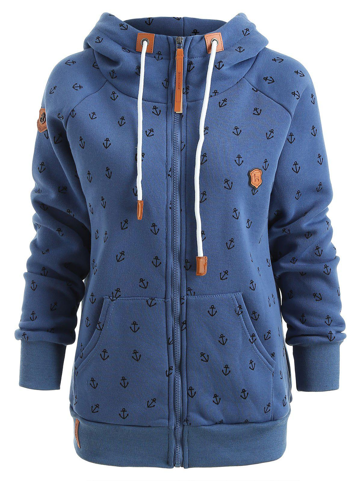 Store Anchor Print Zip Up Hooded Jacket