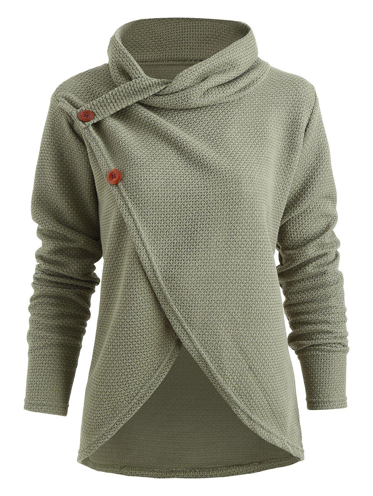 Shops Turtle Neck Button Pullover Sweater