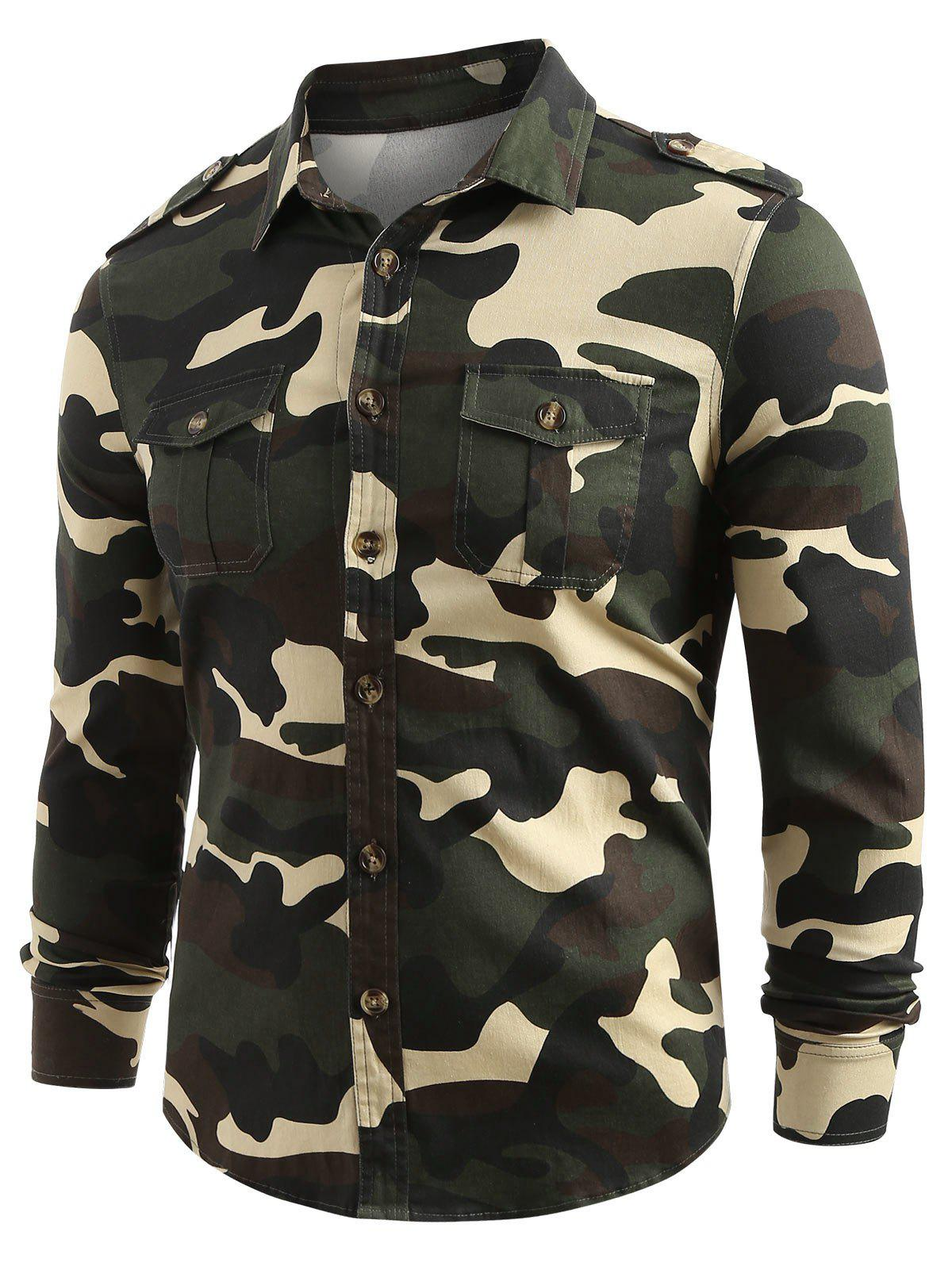 Fancy Front Pocket Button Up Camo Shirt