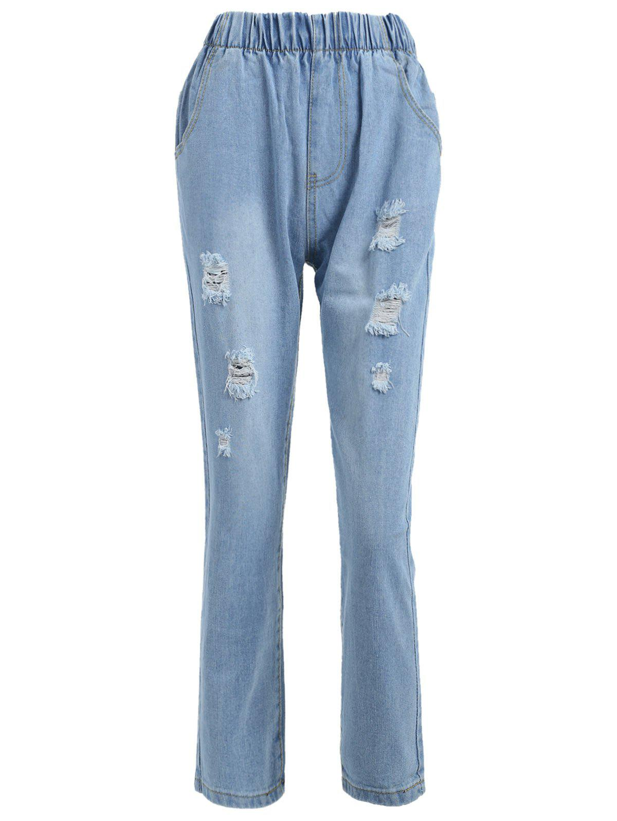 Fashion Light Wash Destroyed Tapered Jeans