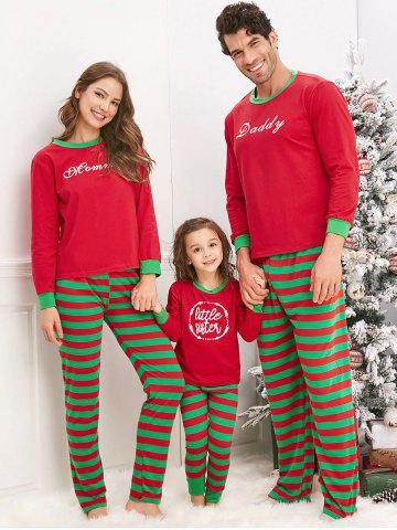 Christmas Striped Letter Printed Matching Family Pajama Sets