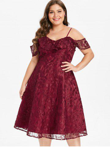 Plus Size Flounce Lace Fit and Flare Dress