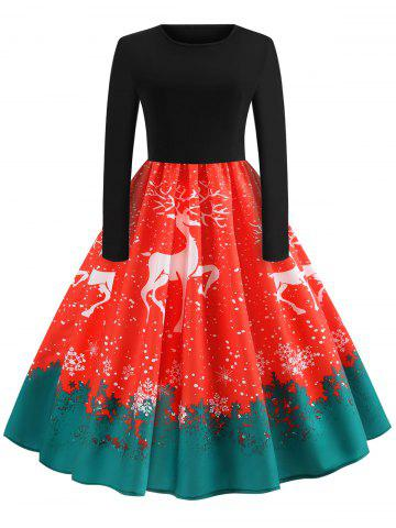 Vintage Reindeer Snowflake Print Christmas Dress