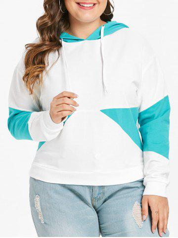 Plus Size Two Tone Pullover Hoodie - WHITE - 1X