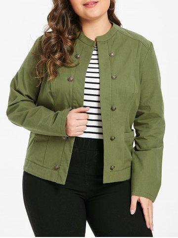 Plus Size Open Front Buttons Jacket - ARMY GREEN - L