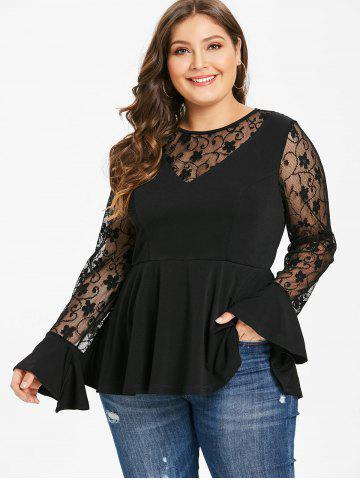 Plus Size Long Sleeves Lace Panel Peplum Top