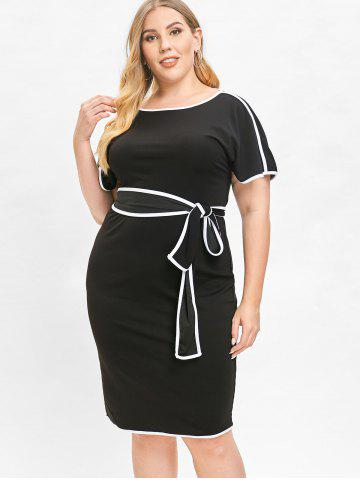Round Neck Plus Size Belted Knee Length Dress