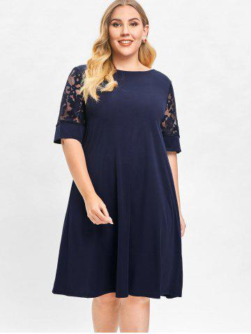 Plus Size Embroidery Half Sleeve Shift Dress