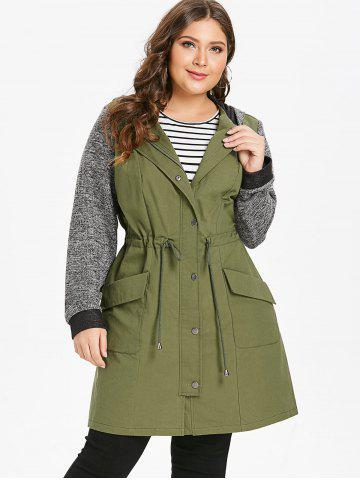 Plus Size Longline Hooded Coat with Drawstring Waist