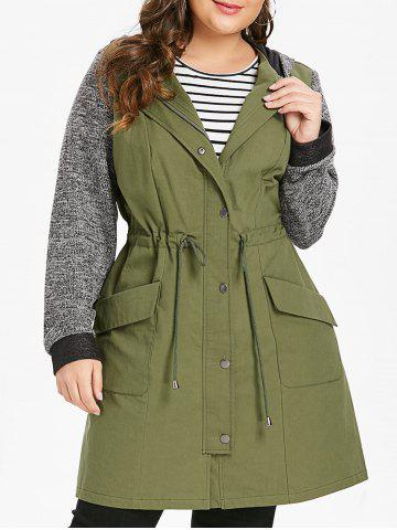 Plus Size Longline Hooded Coat with Drawstring Waist - ARMY GREEN - L