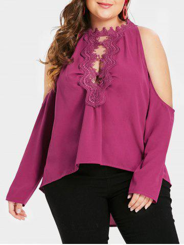 Plus Size Asymmetric Cutout Cold Shoulder Top with Lace - ROSE RED - 3X