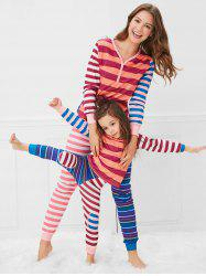 Christmas Contrast Striped Print Mom Kids Pajama Set -