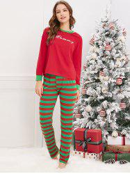 Christmas Striped Letter Printed Matching Family Pajama Sets -