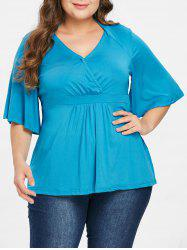 Stylish Plus Size Flare Sleeve Solid Color V-Neck Blouse For Women -