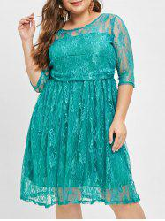 Graceful col rond Robe manches demi verts dentelle femmes -