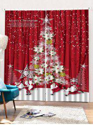 2 Panels Christmas Floral Tree Print Window Curtains -