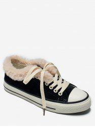 Lace Up Faux Fur Flat Sneakers -