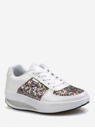 Sequined Patch Platform Running Sneakers -