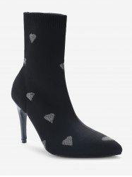 Heart Print Stiletto Heel Pointed Toe Sock Boots - Серебристый ЕС 37