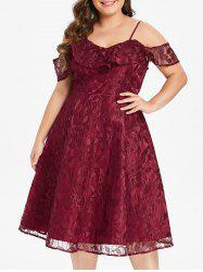 Plus Size Flounce Lace Fit and Flare Dress -